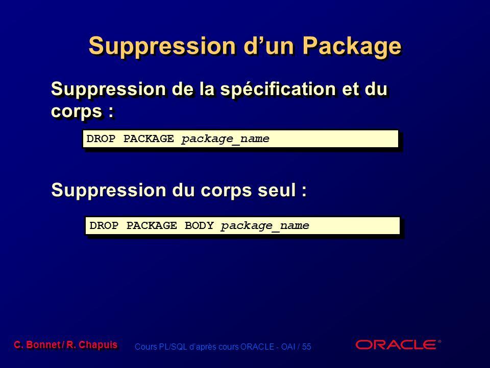 Suppression d'un Package