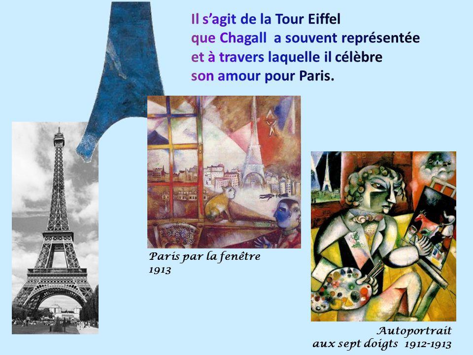 Il s'agit de la Tour Eiffel que Chagall a souvent représentée