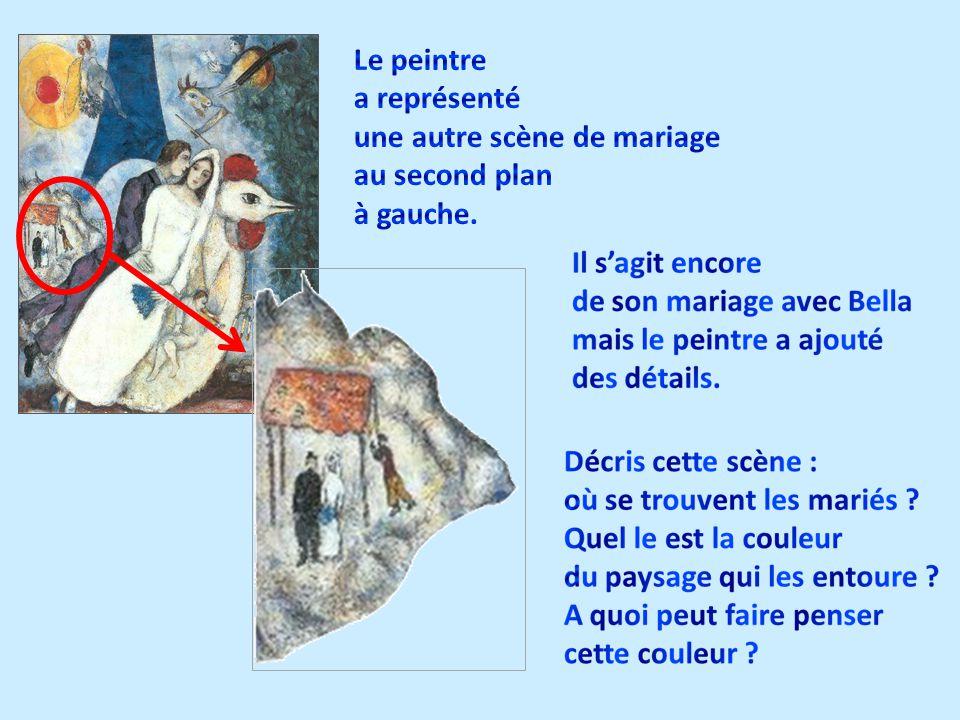 Le peintre a représenté une autre scène de mariage au second plan à gauche.