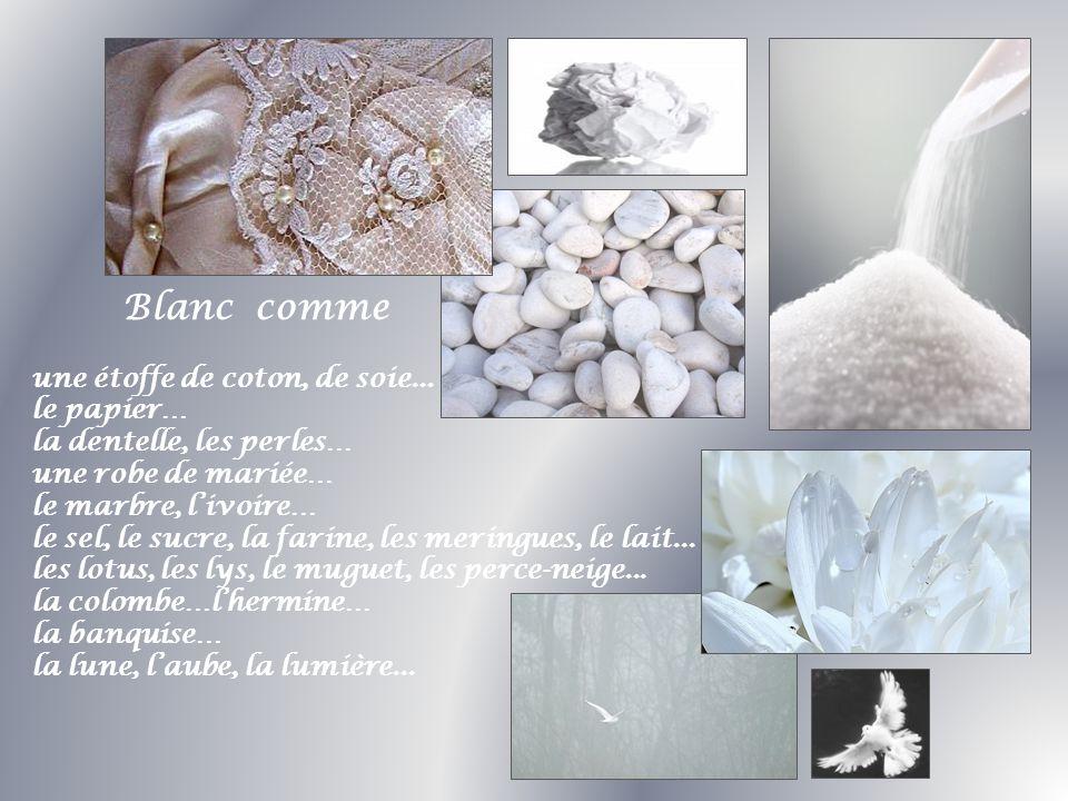Blanc comme une étoffe de coton, de soie... le papier… la dentelle, les perles… une robe de mariée…