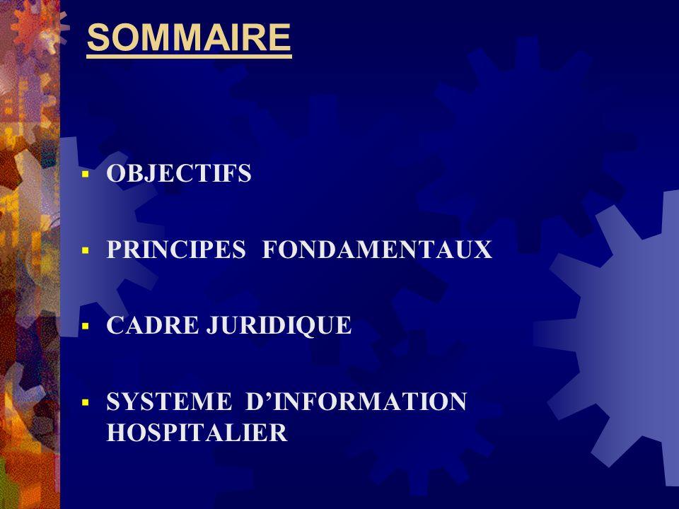 SOMMAIRE OBJECTIFS PRINCIPES FONDAMENTAUX CADRE JURIDIQUE