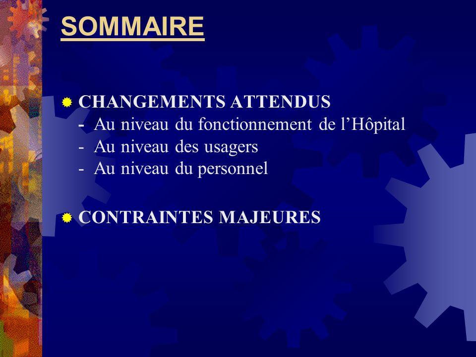 SOMMAIRE CHANGEMENTS ATTENDUS - Au niveau du fonctionnement de l'Hôpital - Au niveau des usagers - Au niveau du personnel.