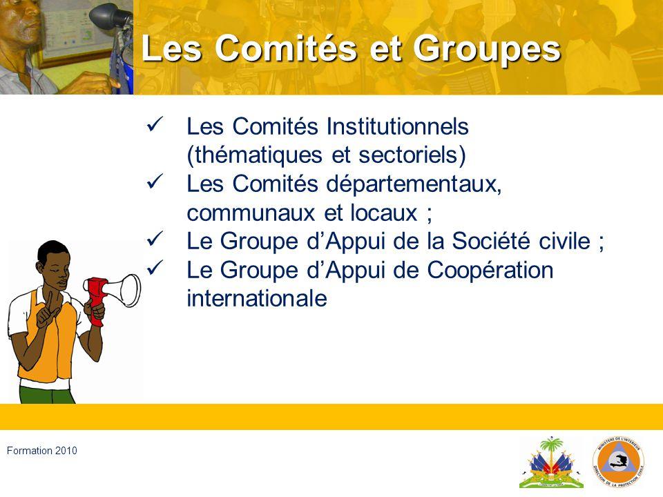 Les Comités et Groupes Les Comités Institutionnels (thématiques et sectoriels) Les Comités départementaux, communaux et locaux ;