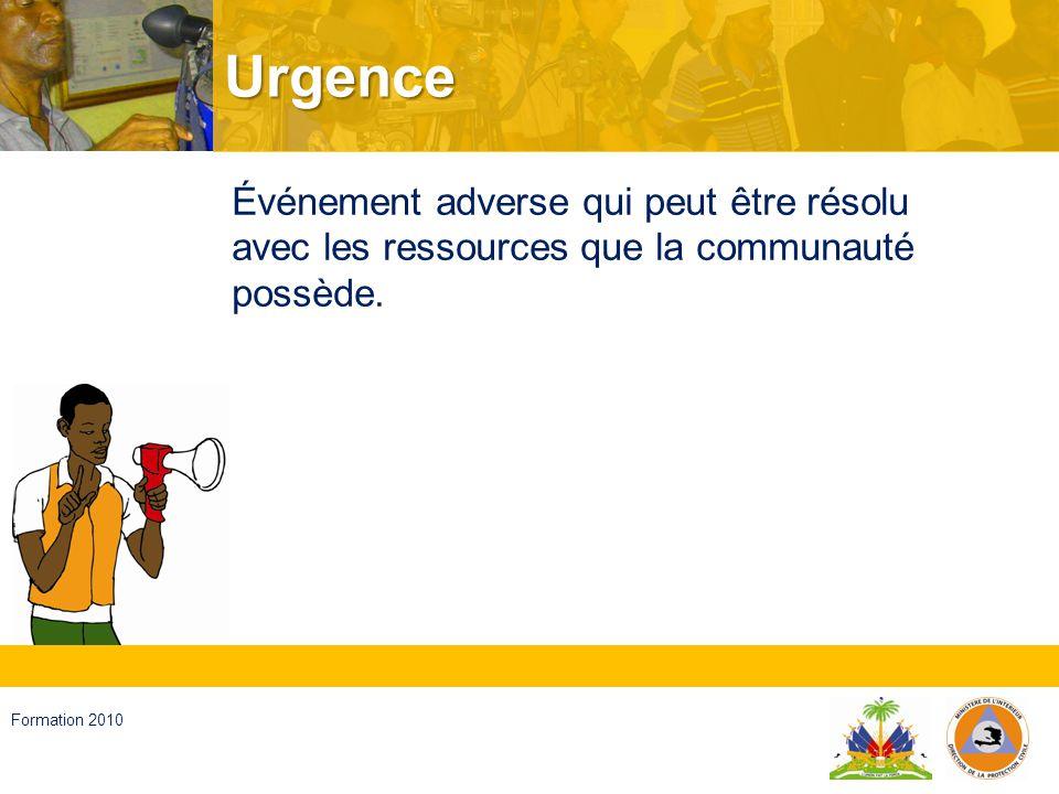 Urgence Événement adverse qui peut être résolu avec les ressources que la communauté possède.