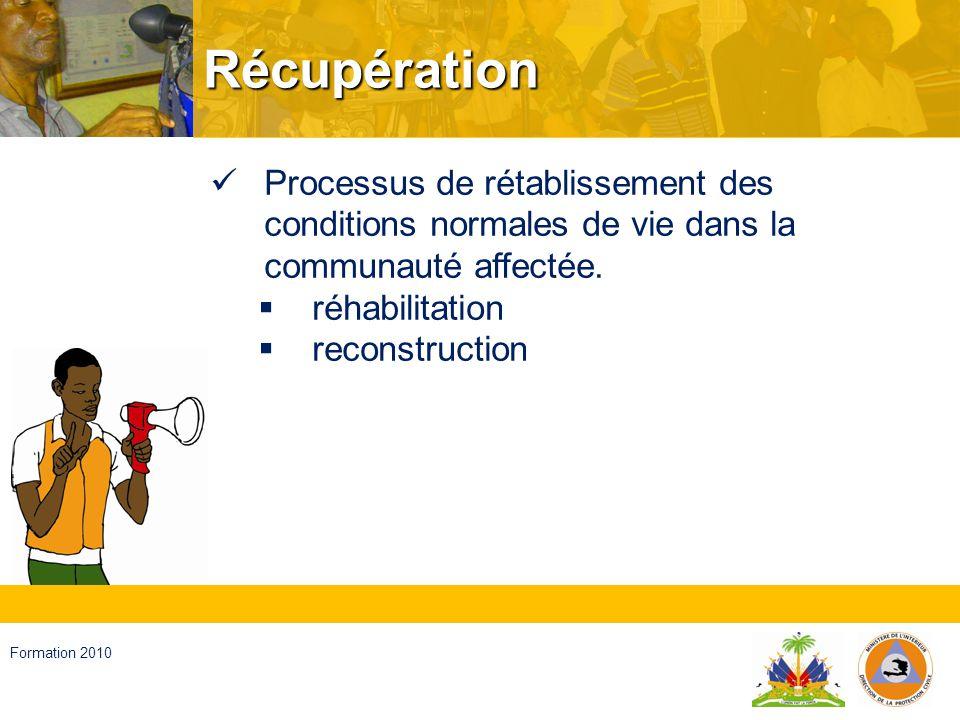 Récupération Processus de rétablissement des conditions normales de vie dans la communauté affectée.
