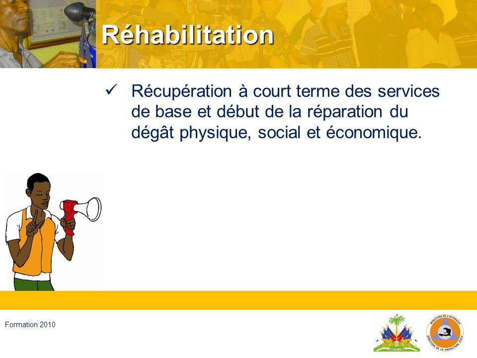 Réhabilitation Récupération à court terme des services de base et début de la réparation du dégât physique, social et économique.