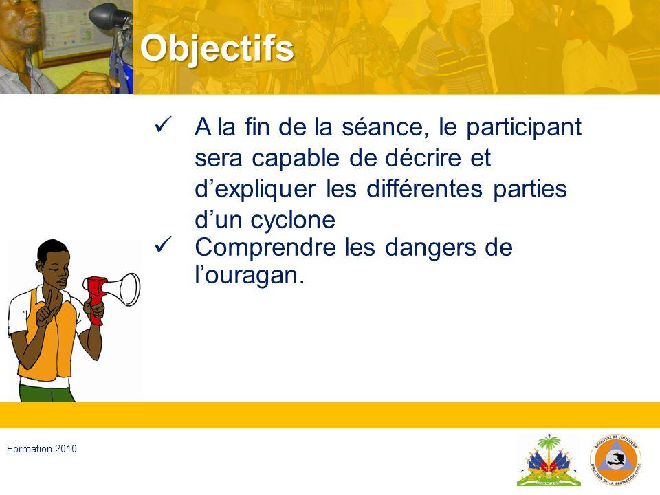 Objectifs A la fin de la séance, le participant sera capable de décrire et d'expliquer les différentes parties d'un cyclone.