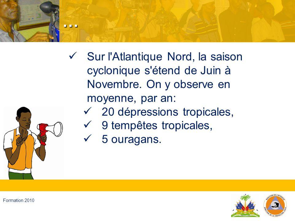 … Sur l Atlantique Nord, la saison cyclonique s étend de Juin à Novembre. On y observe en moyenne, par an: