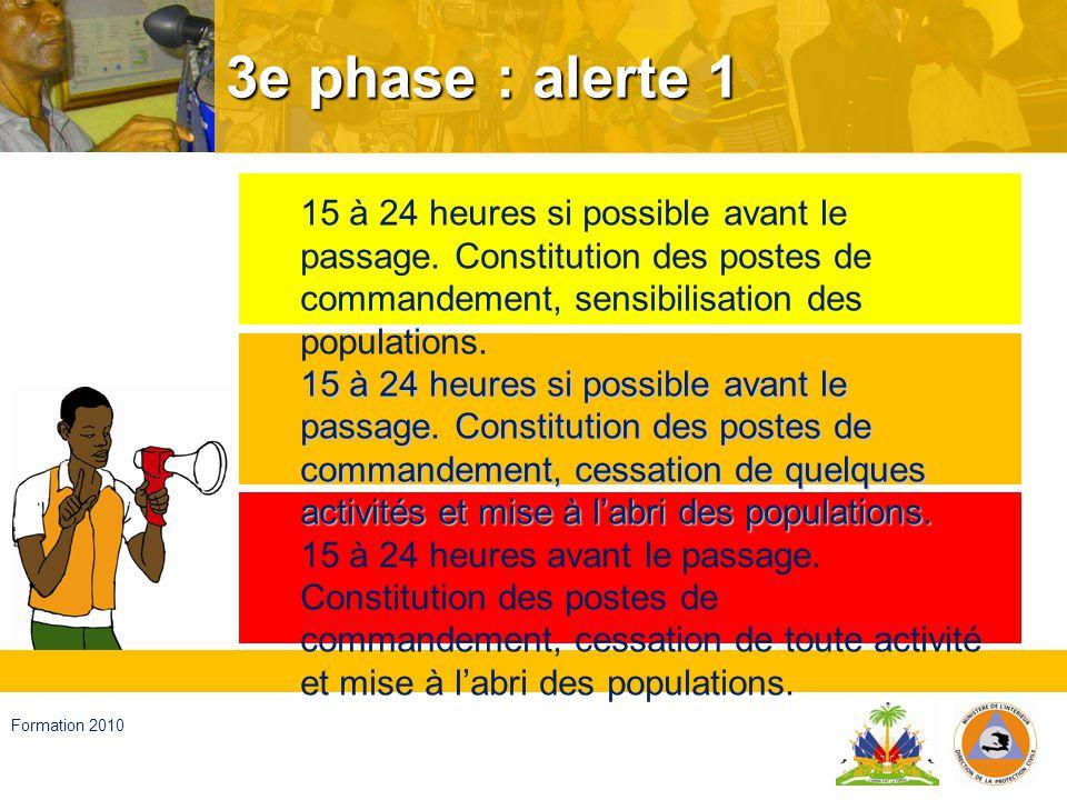 3e phase : alerte 1 15 à 24 heures si possible avant le passage. Constitution des postes de commandement, sensibilisation des populations.