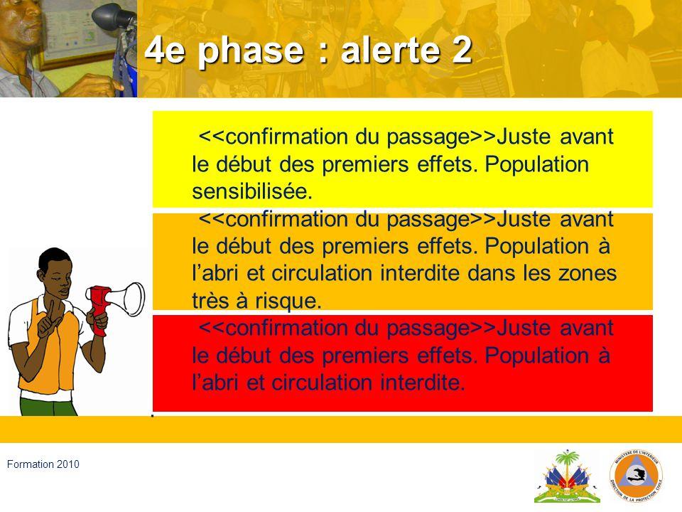4e phase : alerte 2 <<confirmation du passage>>Juste avant le début des premiers effets. Population sensibilisée.