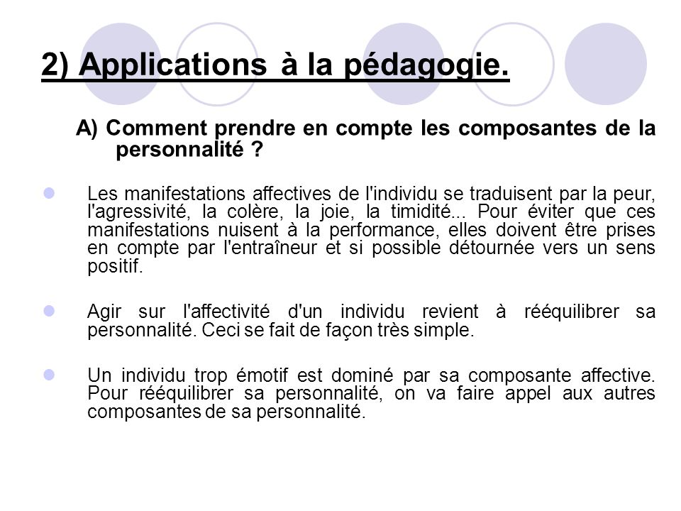 2) Applications à la pédagogie.