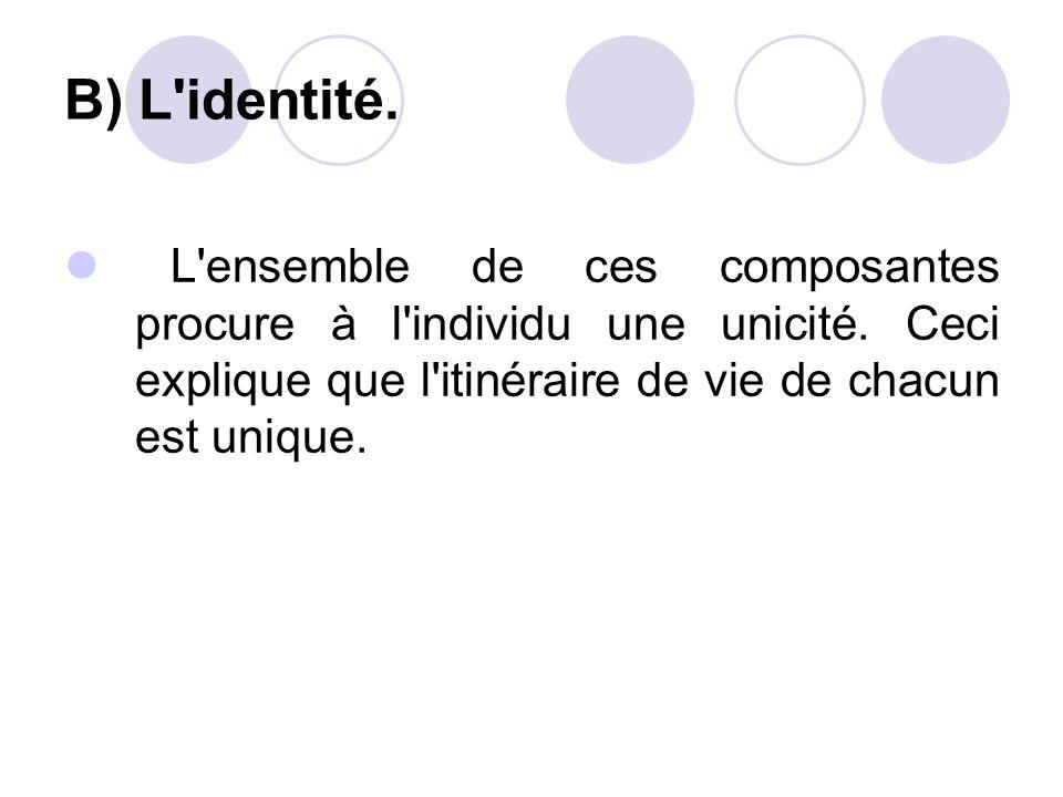 B) L identité. L ensemble de ces composantes procure à l individu une unicité.