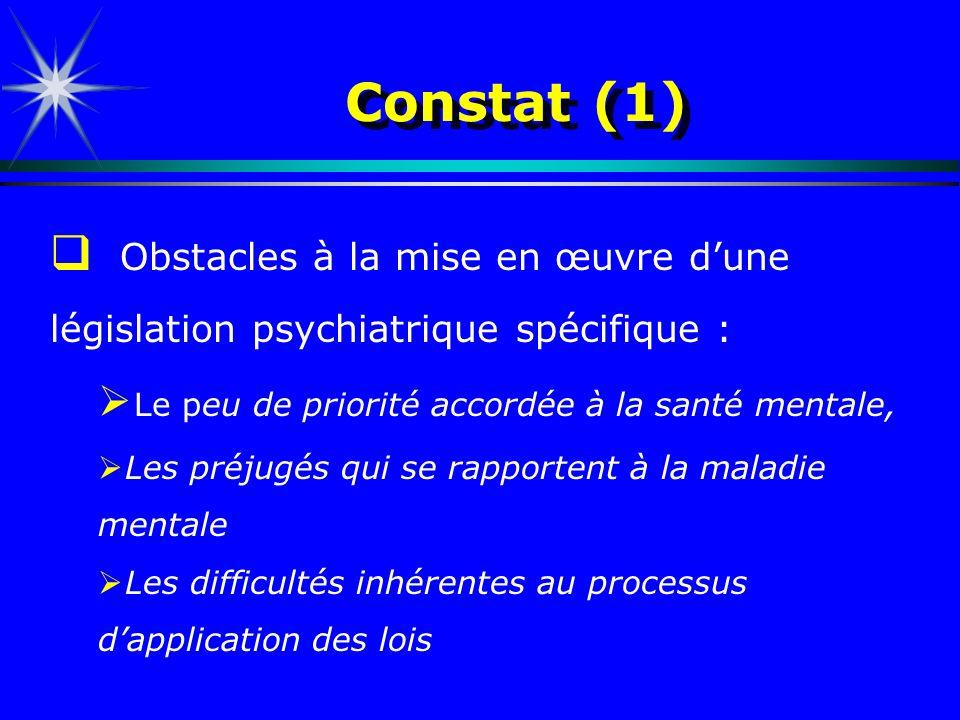 Constat (1)Obstacles à la mise en œuvre d'une législation psychiatrique spécifique : Le peu de priorité accordée à la santé mentale,
