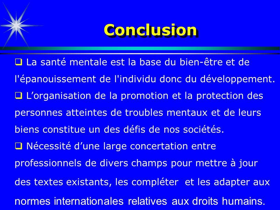 ConclusionLa santé mentale est la base du bien-être et de l épanouissement de l individu donc du développement.