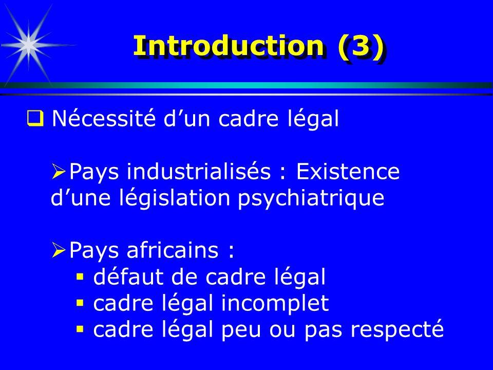 Introduction (3) Nécessité d'un cadre légal