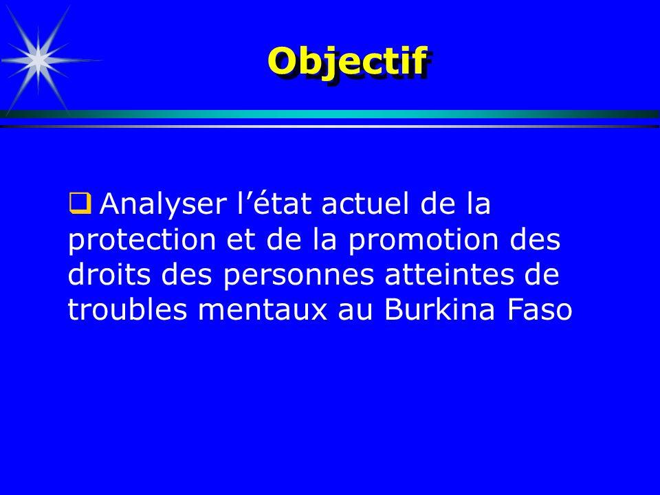 Objectif Analyser l'état actuel de la protection et de la promotion des droits des personnes atteintes de troubles mentaux au Burkina Faso.