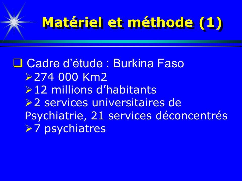Matériel et méthode (1) Cadre d'étude : Burkina Faso 274 000 Km2