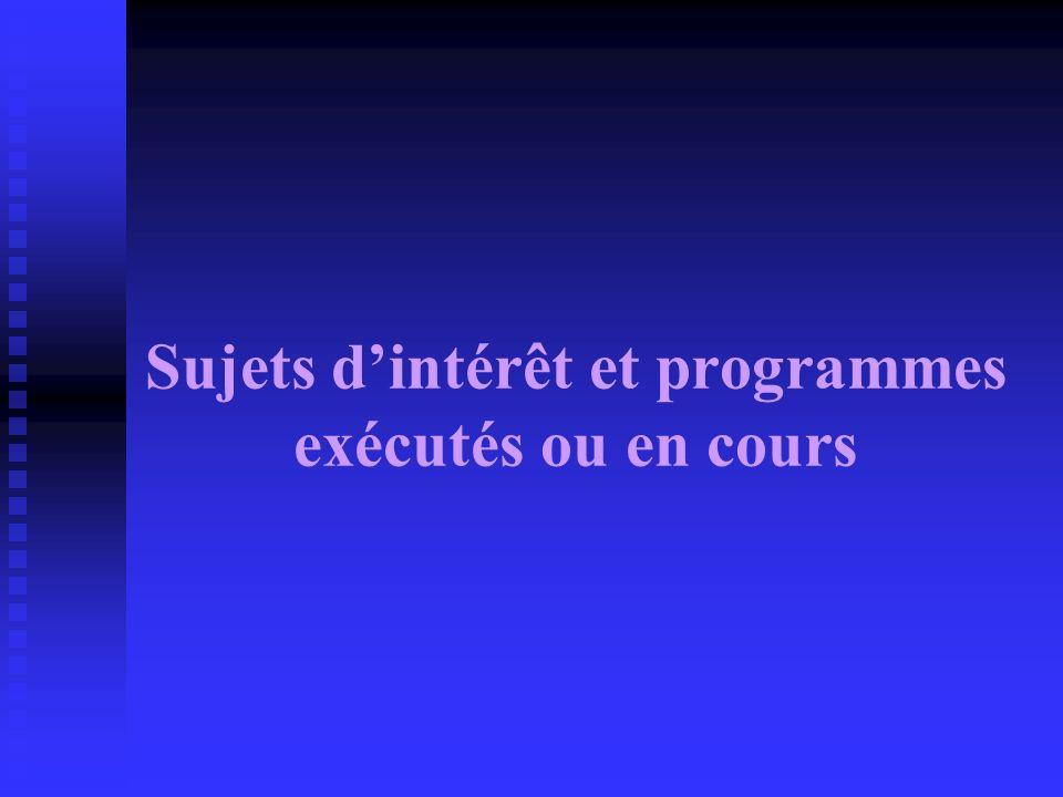 Sujets d'intérêt et programmes exécutés ou en cours