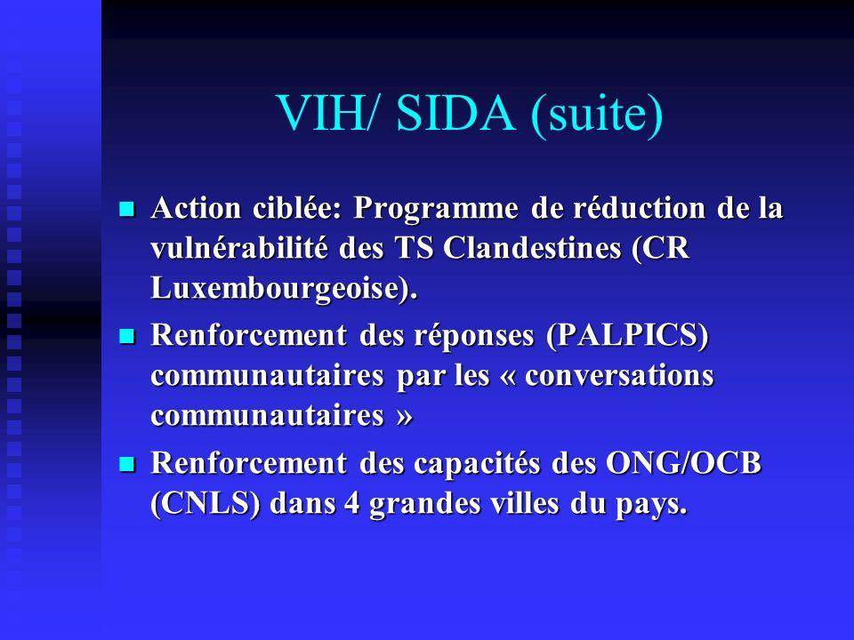 VIH/ SIDA (suite) Action ciblée: Programme de réduction de la vulnérabilité des TS Clandestines (CR Luxembourgeoise).