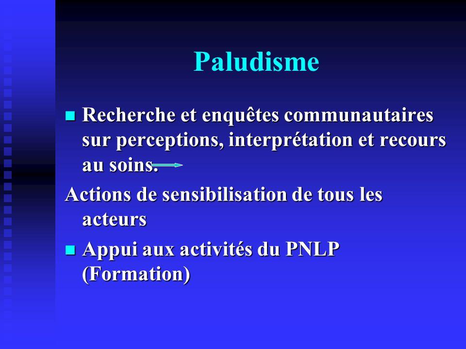 Paludisme Recherche et enquêtes communautaires sur perceptions, interprétation et recours au soins.