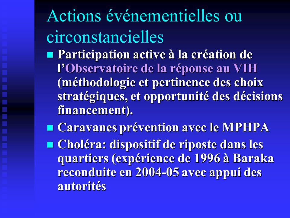 Actions événementielles ou circonstancielles