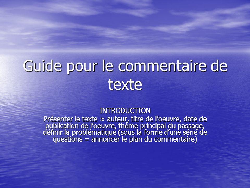 Guide pour le commentaire de texte