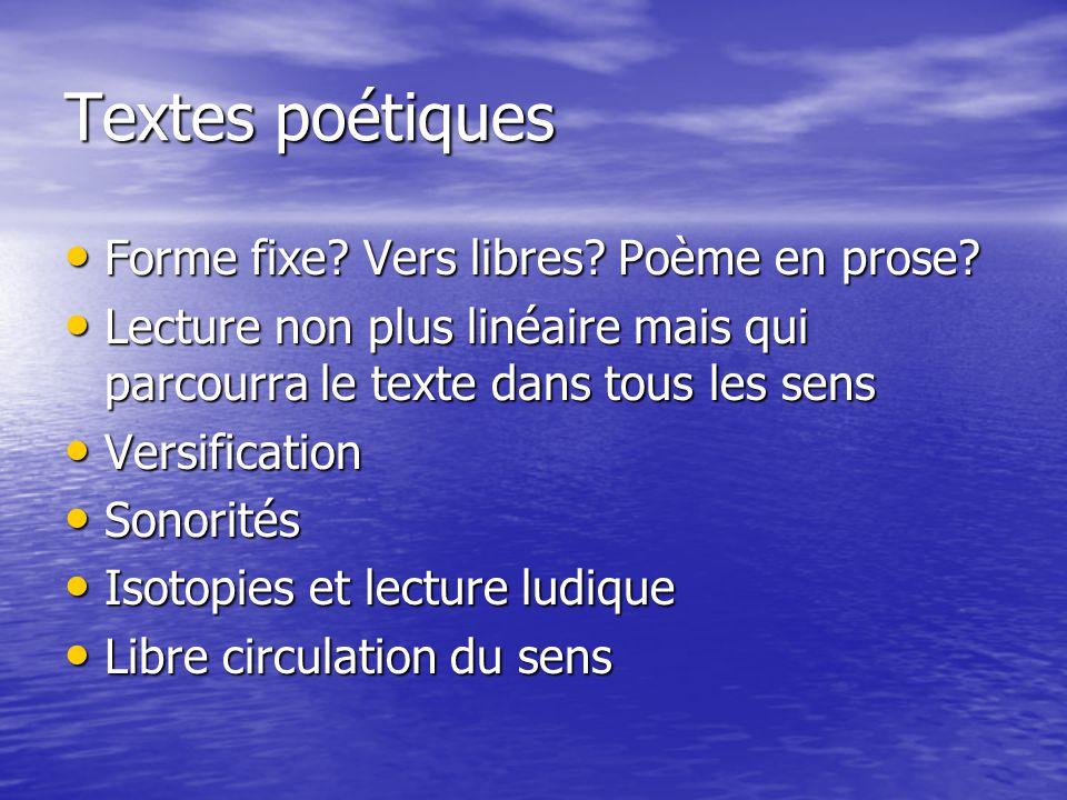 Textes poétiques Forme fixe Vers libres Poème en prose