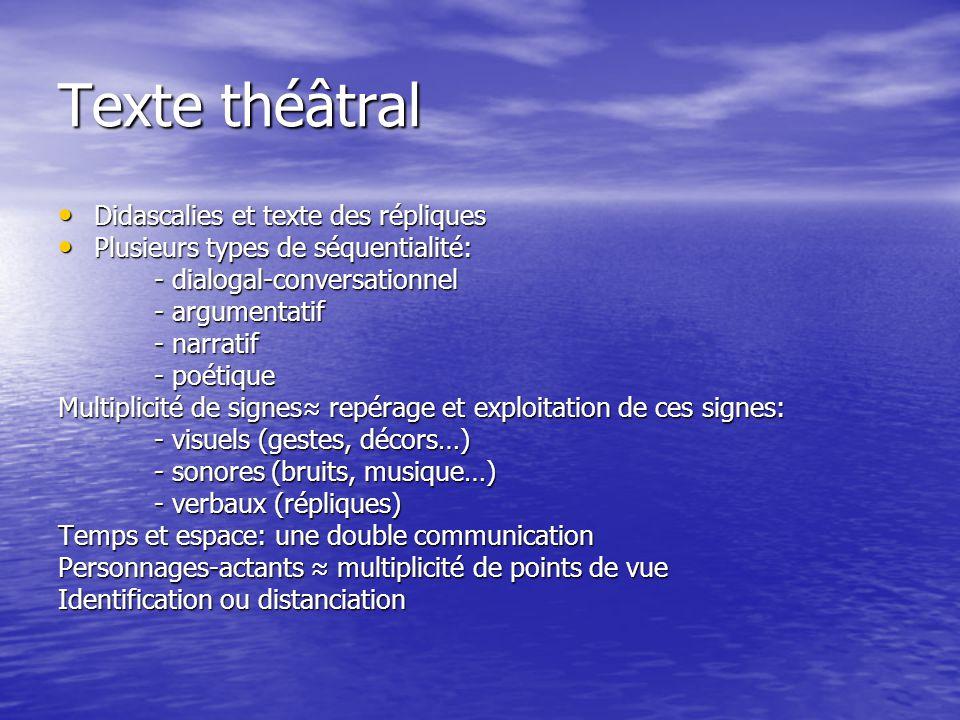 Texte théâtral Didascalies et texte des répliques