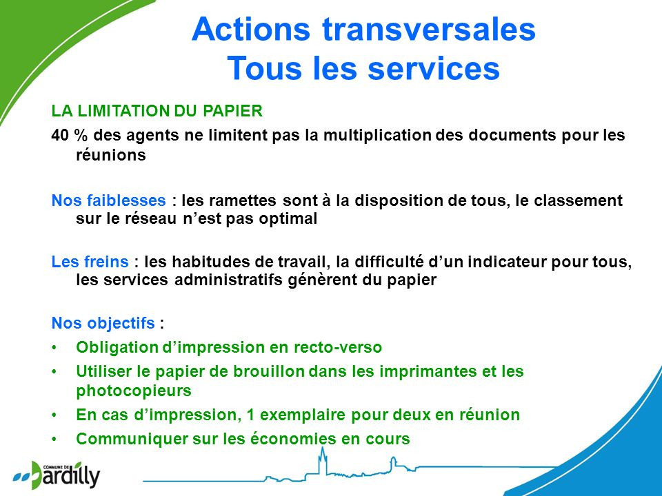Actions transversales Tous les services