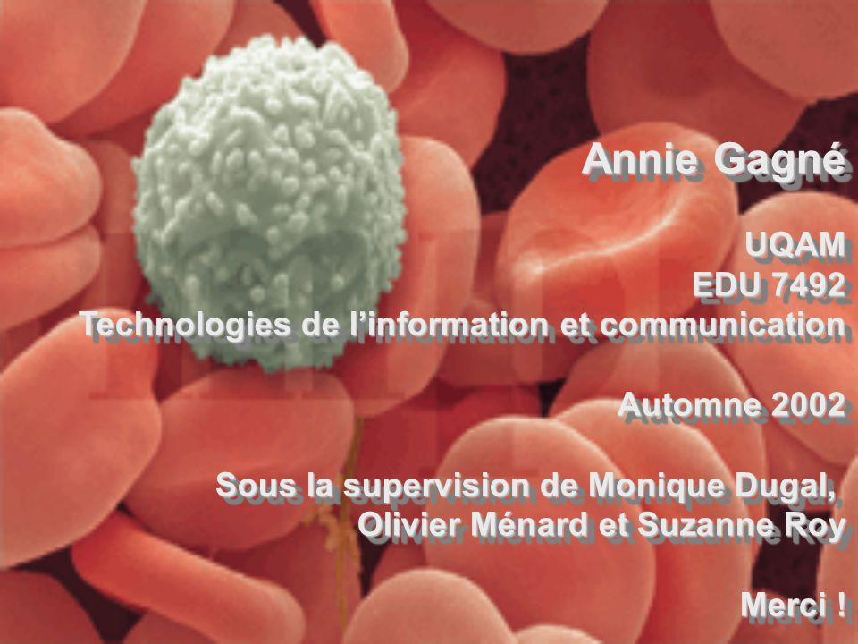Annie Gagné UQAM. EDU 7492. Technologies de l'information et communication. Automne 2002. Sous la supervision de Monique Dugal,