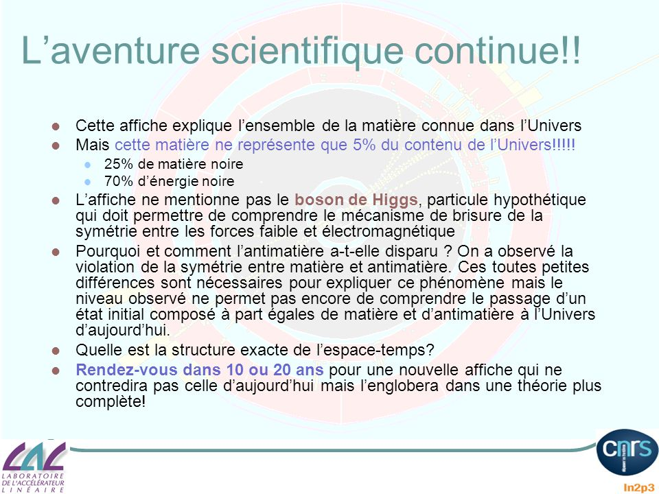 L'aventure scientifique continue!!