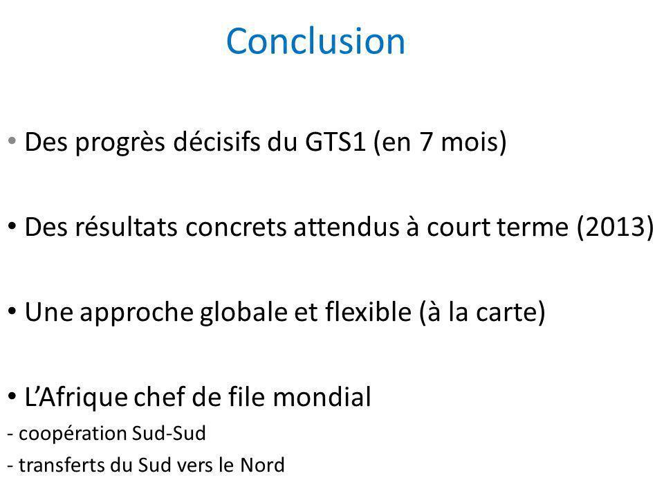 Conclusion Des progrès décisifs du GTS1 (en 7 mois)