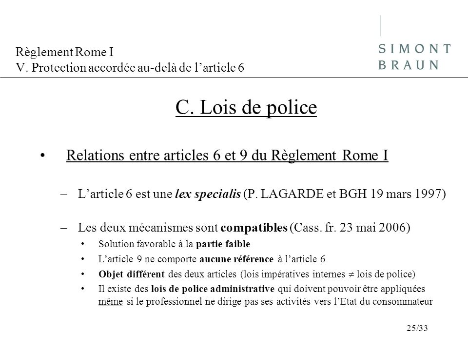 Règlement Rome I V. Protection accordée au-delà de l'article 6