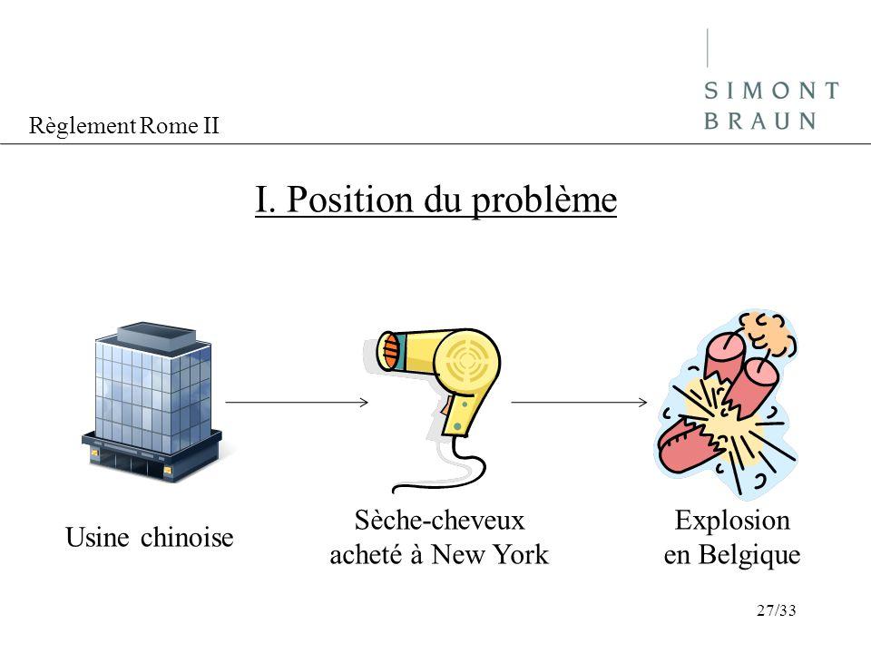 I. Position du problème Sèche-cheveux acheté à New York Explosion