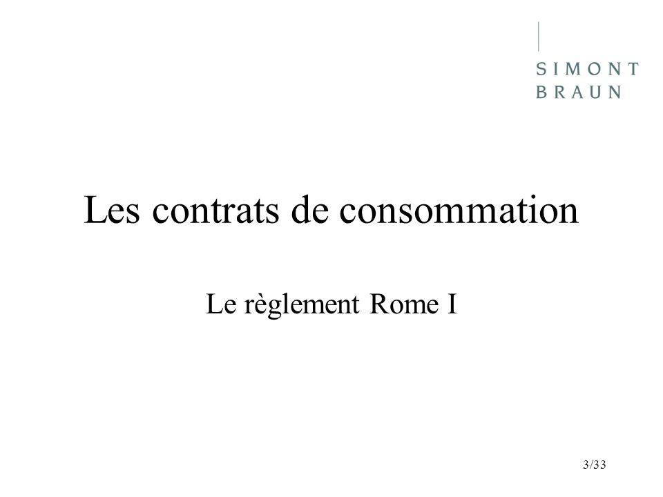 Les contrats de consommation