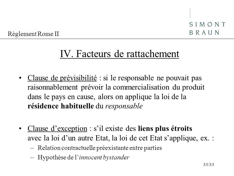 IV. Facteurs de rattachement