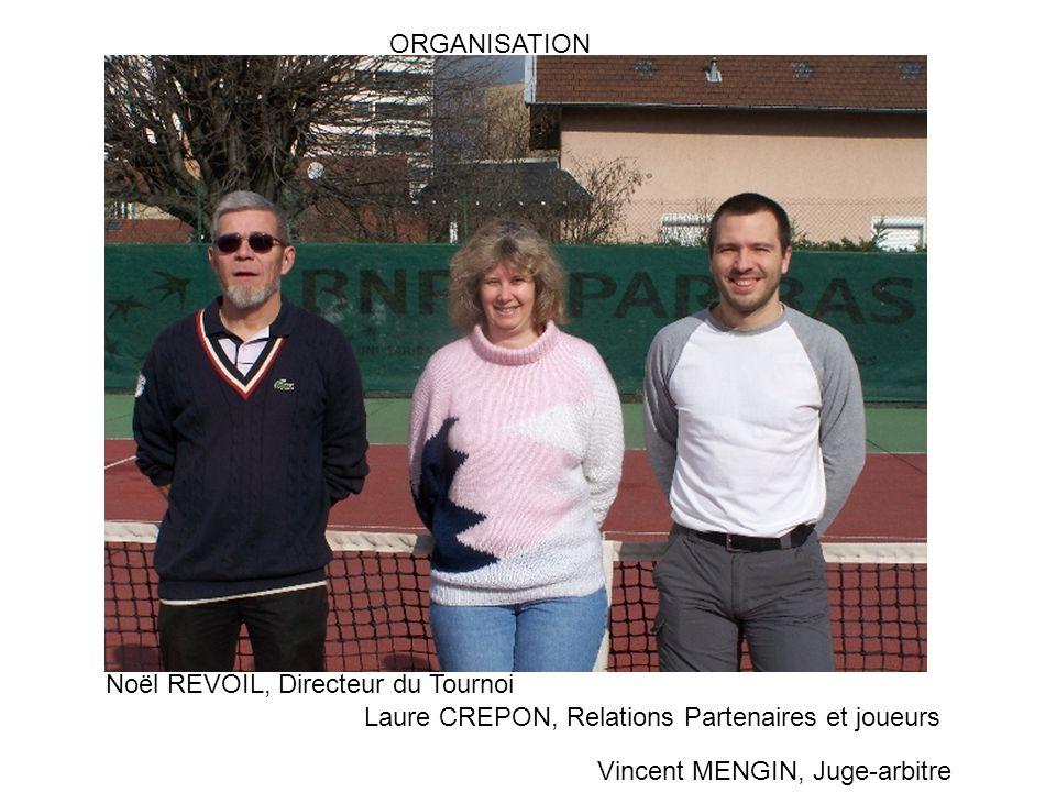 ORGANISATION Noël REVOIL, Directeur du Tournoi. Laure CREPON, Relations Partenaires et joueurs.