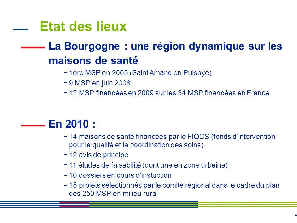 Etat des lieux La Bourgogne : une région dynamique sur les maisons de santé. 1ere MSP en 2005 (Saint Amand en Puisaye)