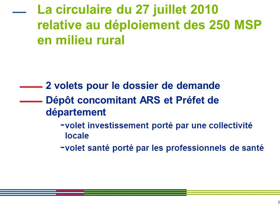 La circulaire du 27 juillet 2010 relative au déploiement des 250 MSP en milieu rural