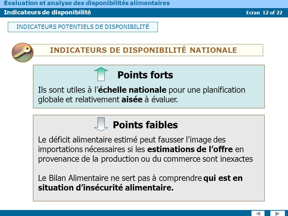 INDICATEURS DE DISPONIBILITÉ NATIONALE