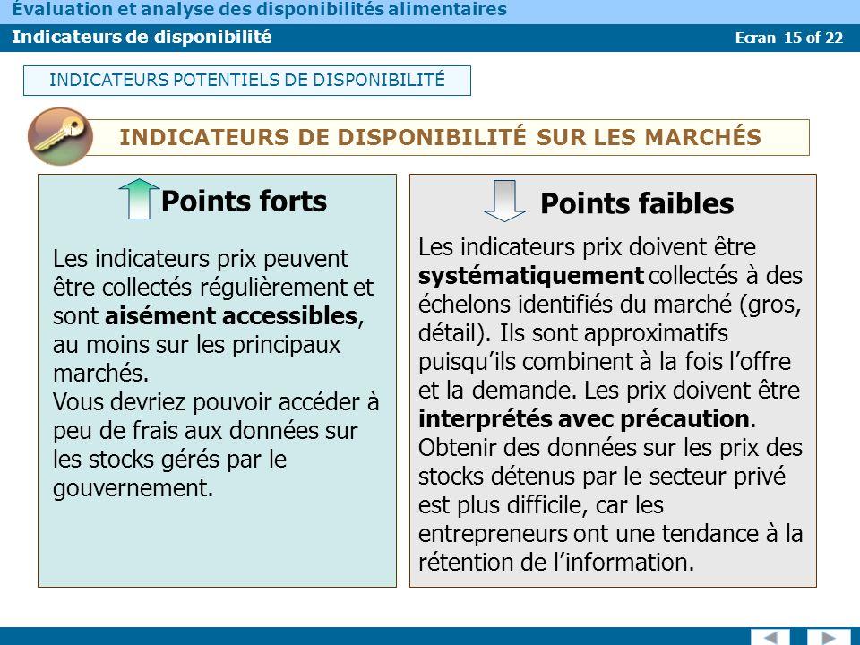 INDICATEURS DE DISPONIBILITÉ SUR LES MARCHÉS