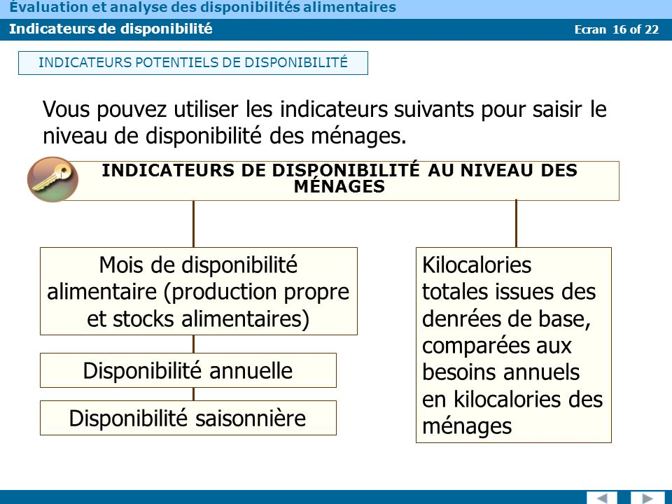 INDICATEURS DE DISPONIBILITÉ AU NIVEAU DES MÉNAGES