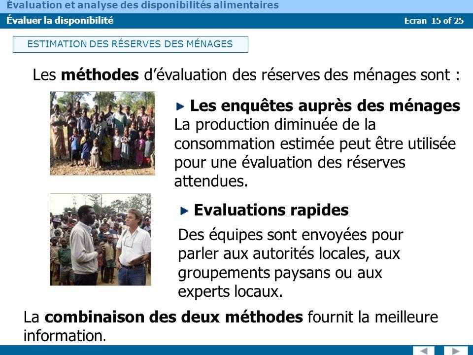 ESTIMATION DES RÉSERVES DES MÉNAGES
