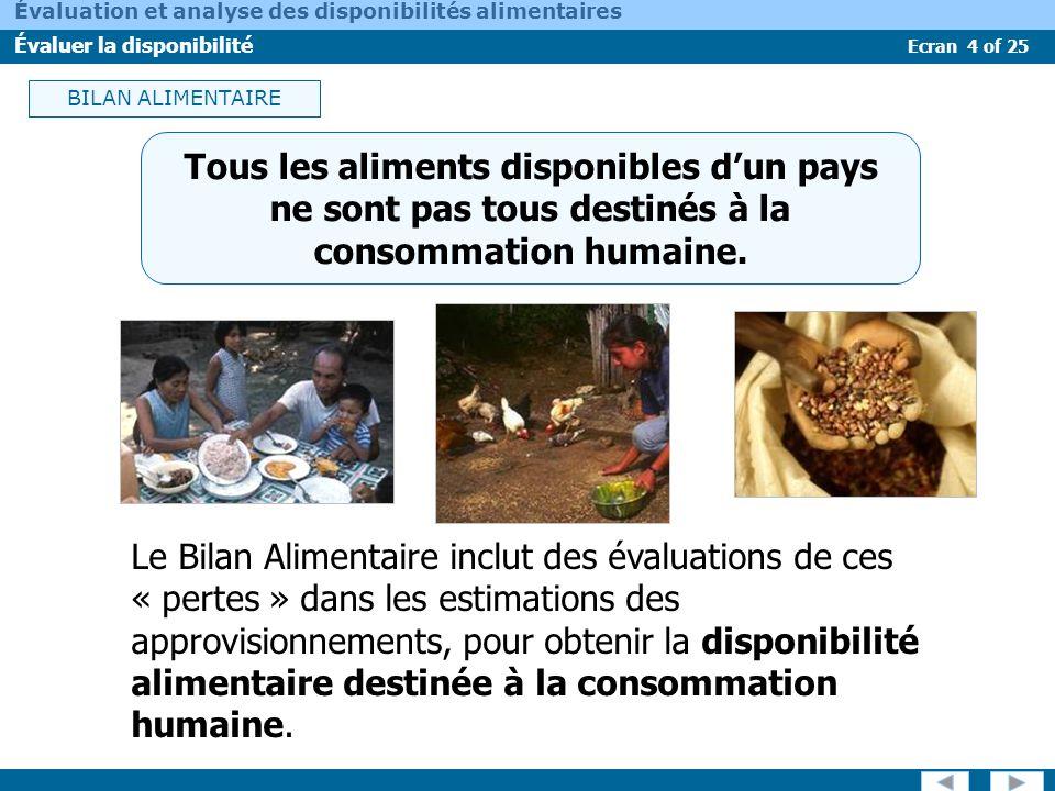 BILAN ALIMENTAIRE Tous les aliments disponibles d'un pays ne sont pas tous destinés à la consommation humaine.