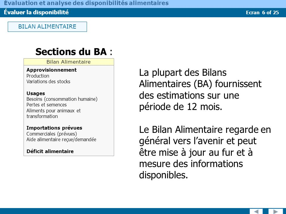 BILAN ALIMENTAIRE Sections du BA : Bilan Alimentaire. Approvisionnement. Production. Variations des stocks.
