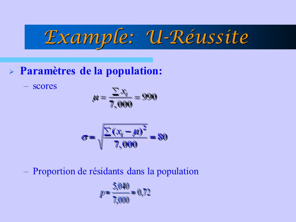 Example: U-Réussite Paramètres de la population: scores