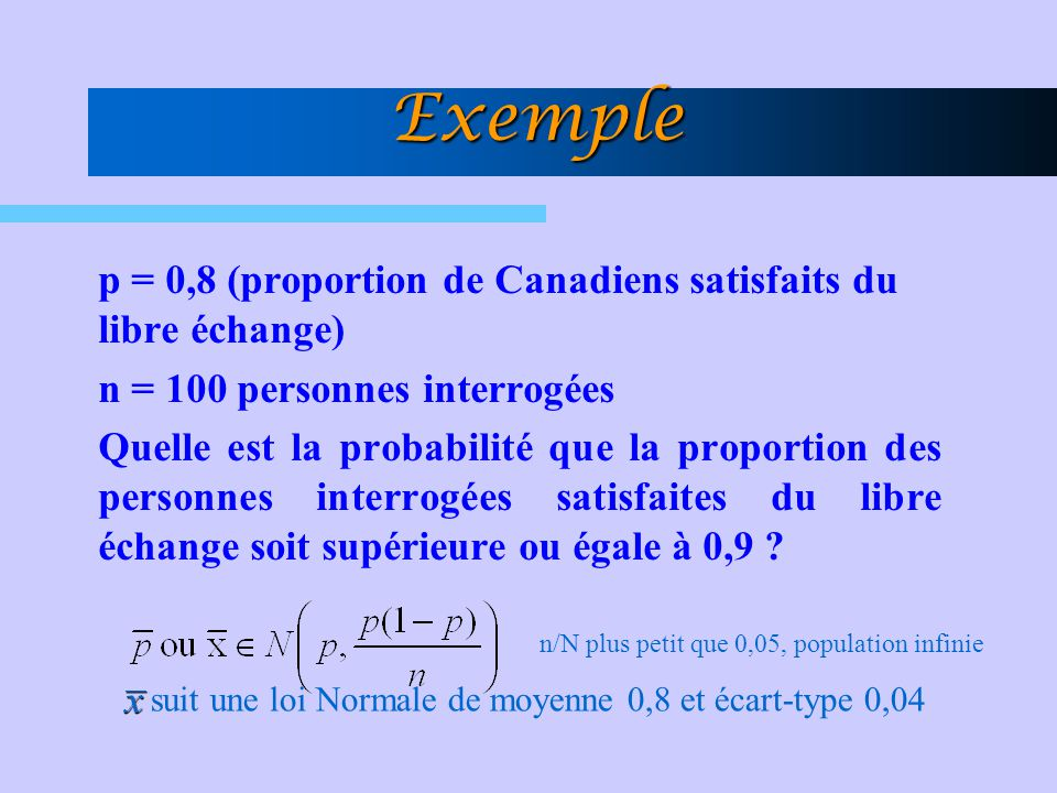 Exemple p = 0,8 (proportion de Canadiens satisfaits du libre échange)