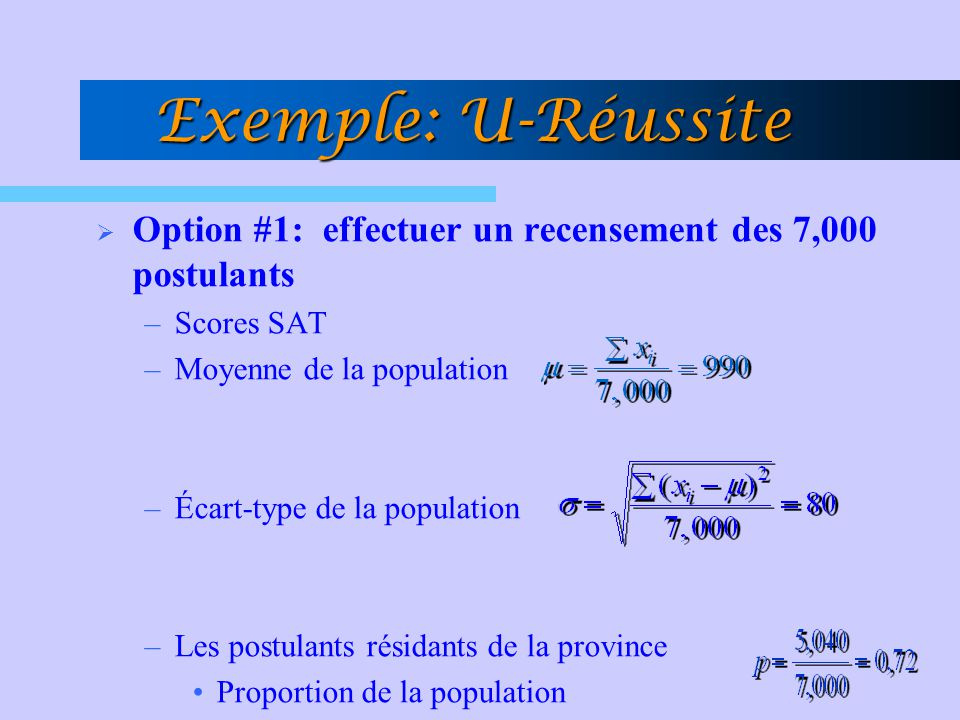 Exemple: U-Réussite Option #1: effectuer un recensement des 7,000 postulants. Scores SAT. Moyenne de la population.