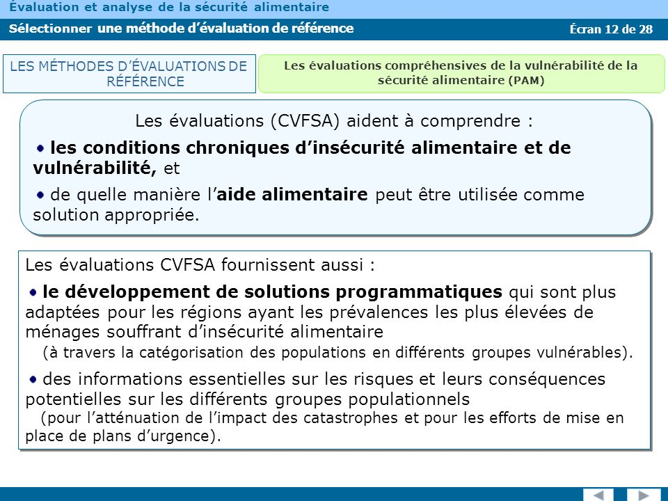 Les évaluations (CVFSA) aident à comprendre :