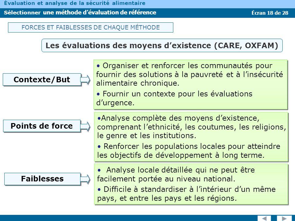 Les évaluations des moyens d'existence (CARE, OXFAM)